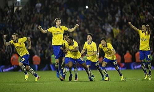 Arsenal win penalty shoot out against the Baggies